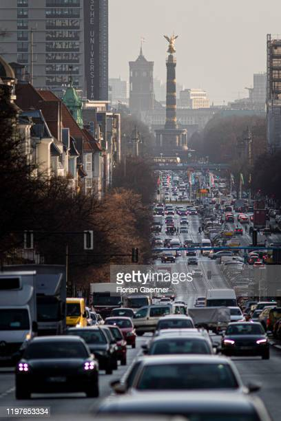 City traffic is pictured at the street Bismarckstrasse on January 31, 2020 in Berlin, Germany.