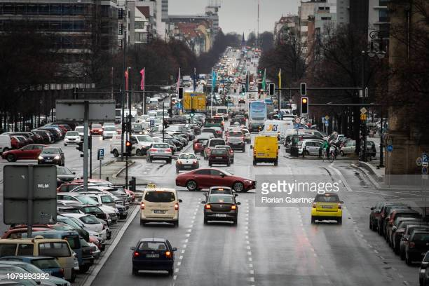 City traffic is pictured on January 09 2019 in Berlin Germany