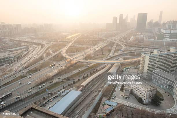 city traffic of beijing in air pollution - carbon dioxide bildbanksfoton och bilder