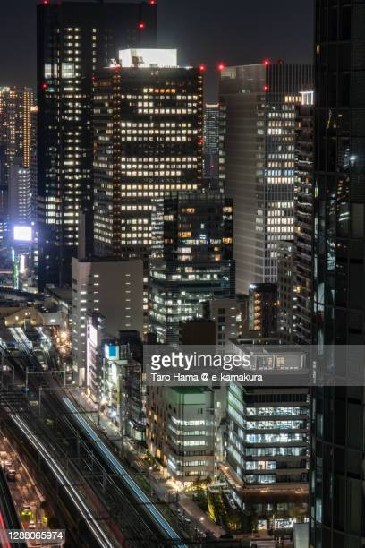city train running in tokyo of japan - taro hama ストックフォトと画像