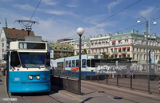 city trams, gothenburg, sweden - västra götaland county stock pictures, royalty-free photos & images