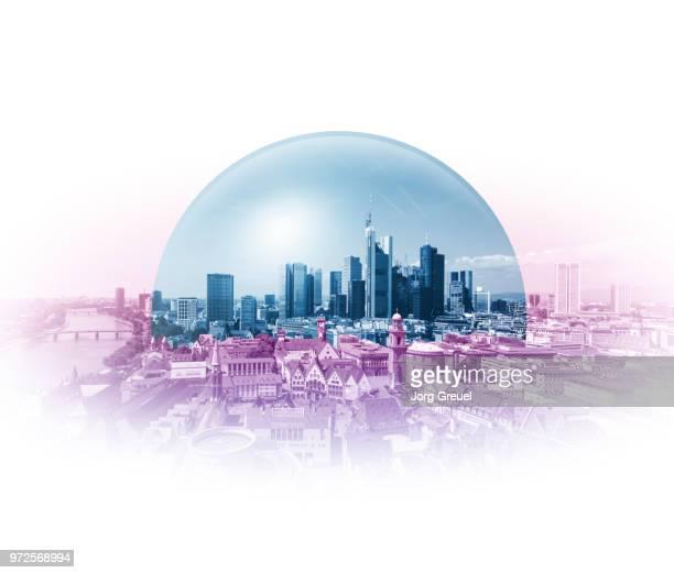city under a glass dome - cúpula fotografías e imágenes de stock