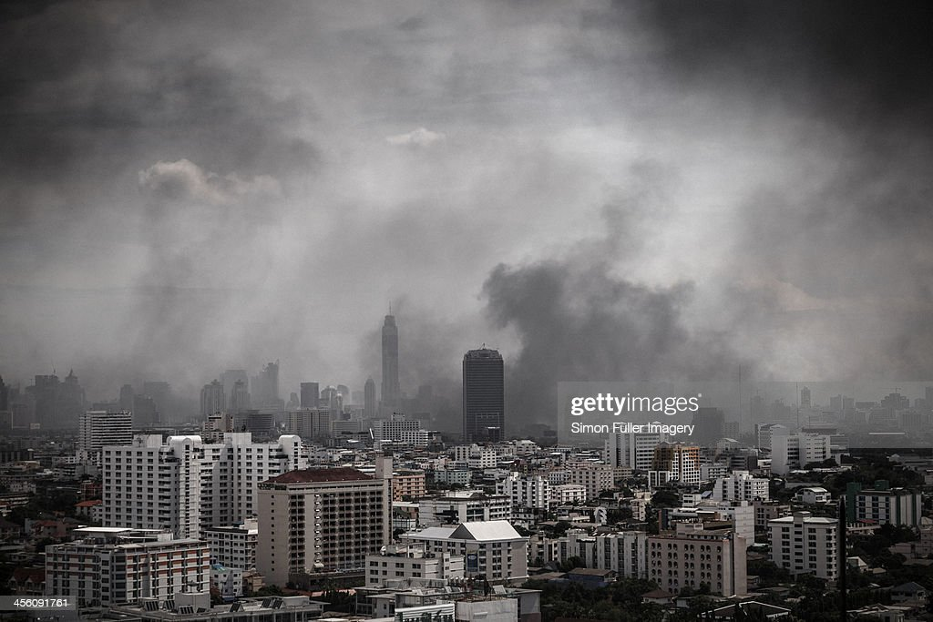 City under siege : Stock Photo