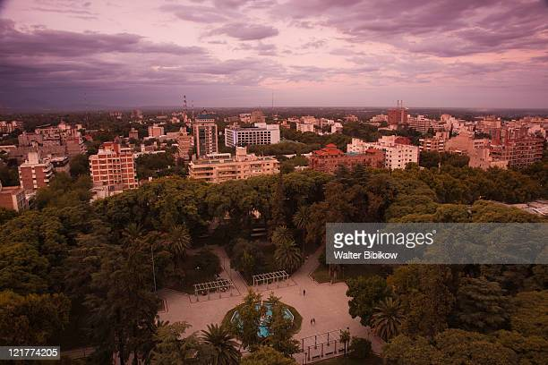 City view from above Plaza Italia, Mendoza, Mendoza Province, Argentina