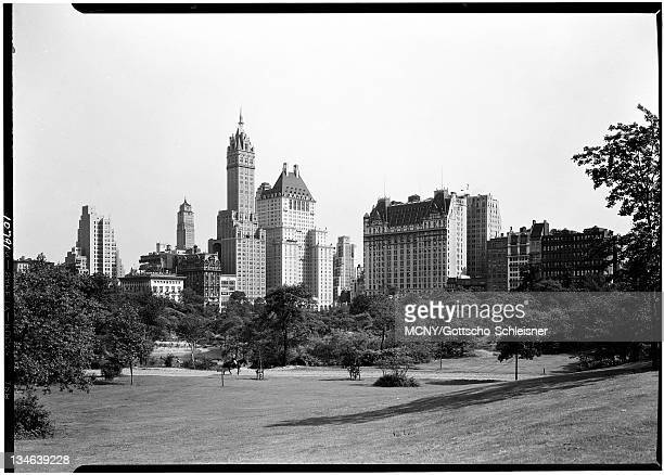 City view from Central Park looking southeast from the left: the Ritz tower, the Sherry-Netherland Hotel, the Savoy-Plaza Hotel, the Plaza Hotel and...
