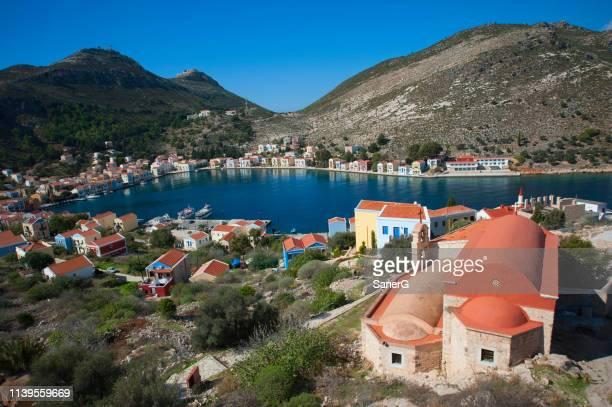 city view from kastellorizon, greece - isole del dodecanneso foto e immagini stock