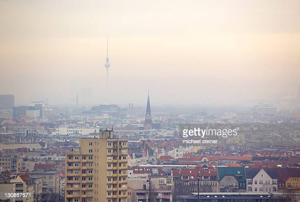 City view from the radio tower to the TV tower, Berlin, Germany, Europe