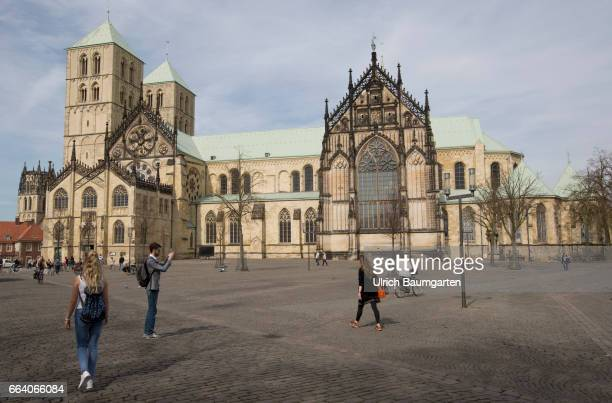 City view Muenster in Westphalia Exterior view St Paulus Cathedral