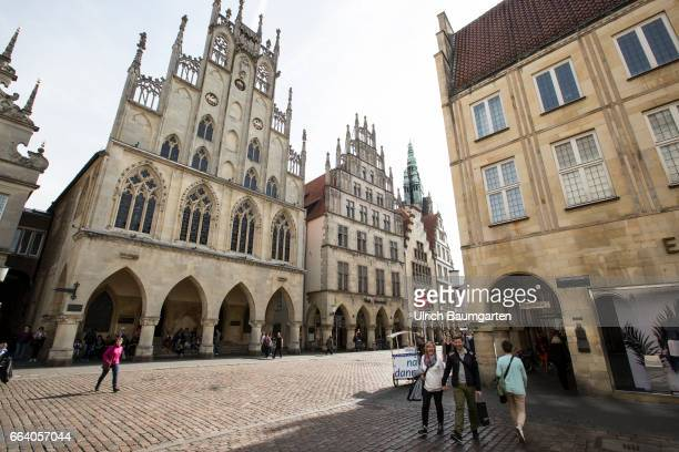 City view Muenster in Westphalia The Historical Town Hall at the Principal Market in the old town of Muenster