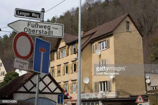 City view Oberndorf am Neckar residential building with TV antennas