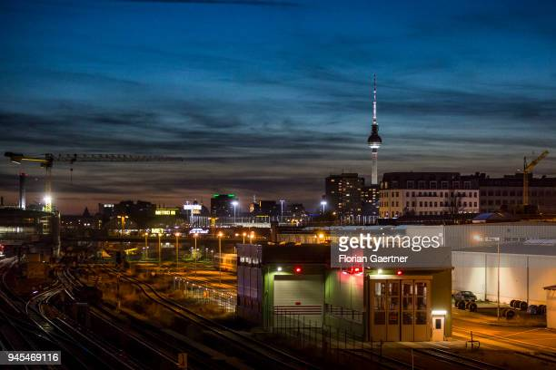 City view of Berlin at dusk In the background the TV tower on April 06 2018 in Berlin Germany