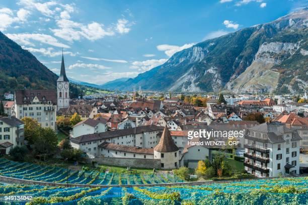 City view of Chur, Calanda right, Canton of Grisons, Switzerland