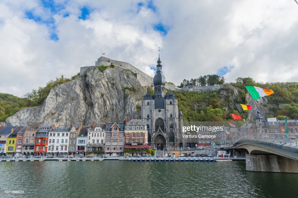 City View Of Dinant From The Riverside Of The Meuse Belgium