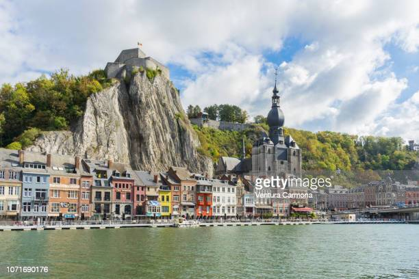 city view of dinant from the riverside of the meuse, belgium - ナミュール州 ストックフォトと画像