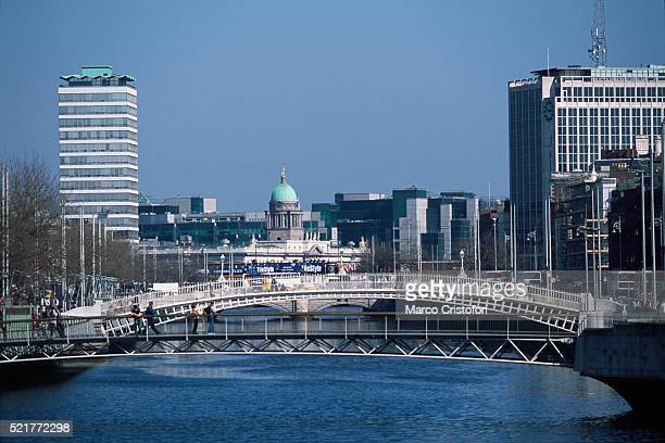 City view of Dublin, Ireland with Halfpenny Bridge and River Liffey