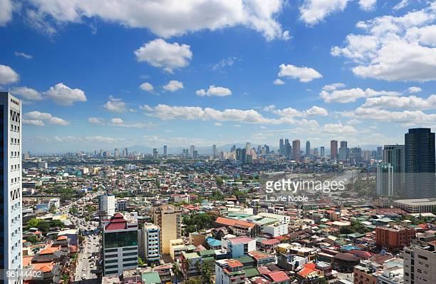 city view of manila; philippines - hauptstadtregion stock-fotos und bilder