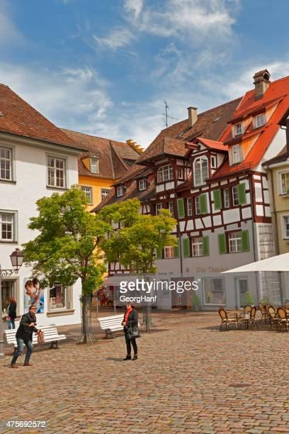blick auf die stadt von meersburg - bodensee karte stock-fotos und bilder
