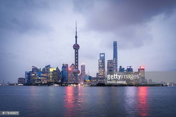 City view of Pudong district in Shanghai in day
