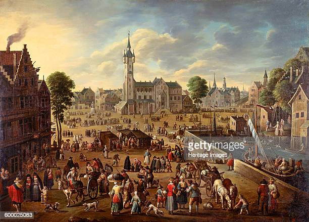 City view of the Main Square in Lier ca 16201625 Found in the collection of Anhaltische Gemäldegalerie Dessau Artist Flemish master