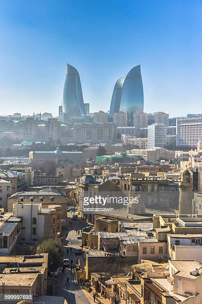 city view towards flame towers - azerbaijan stock pictures, royalty-free photos & images