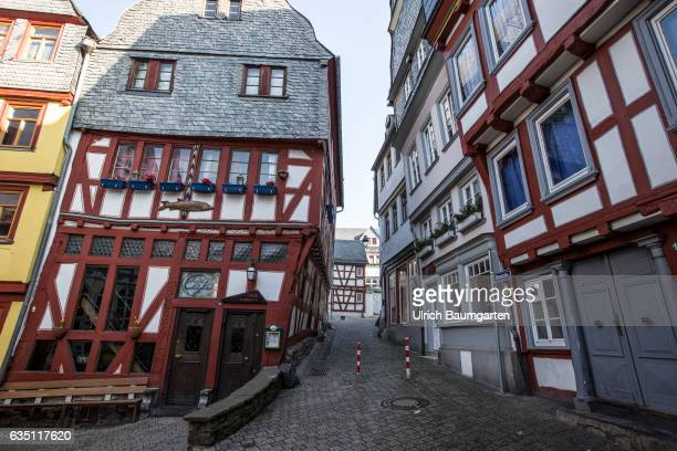 City view with halftimbered houses in the old town of Limburg on the River Lahn