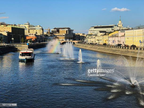City view with river Moskva tourist boats on July 15 2018 in Moscow Russia