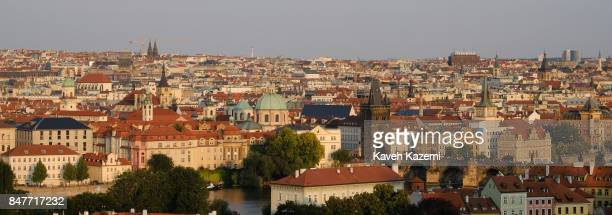 A city view with the skyline seen from Prague Castle complex located on a hill top on July 18 2017 in Prague Czech Republic Prague is the capital and...
