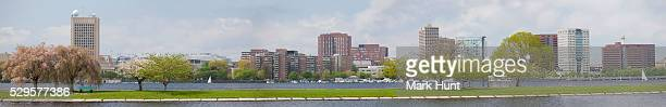 city viewed from the esplanade, kendall square, cambridge, middlesex county, massachusetts, usa - cambridge massachusetts stock pictures, royalty-free photos & images