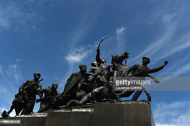 City views of the monument of Vasily Chapaev during a media tour of Russia 2018 FIFA World Cup venues on on July 16 2015 in Samara Russia