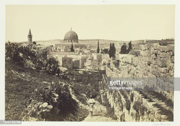 """City Wall and Mosque of Omar, Jerusalem, 1857. Albumen print, pl. 28 from the album """"Egypt and Palestine, volume i"""" . Artist Francis Frith."""