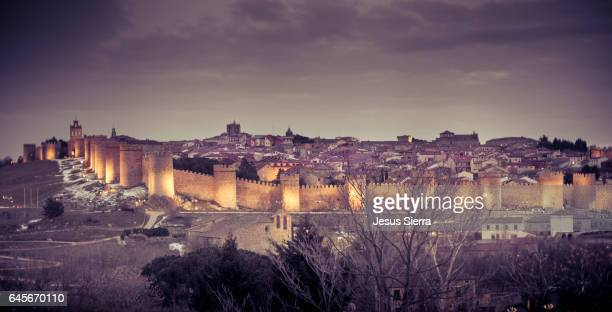 city walls and medieval cathedral viewed from los cuatro postes, avila, castile and leon, spain. unesco world heritage site - avila stock photos and pictures