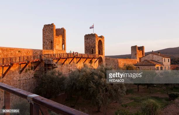 City walls of Monteriggioni Tuscany Italy Europe