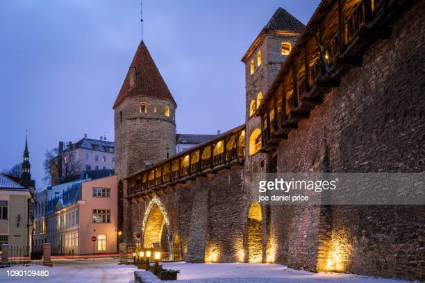 city walls, tallinn, estonia - estonia stock photos and pictures