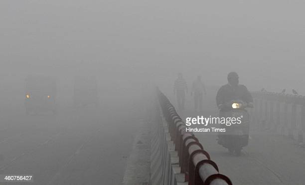 City witness a foggy weather and chilly winter morning on January 5 2014 in New Delhi India While the day began with dense fog the sky cleared during...