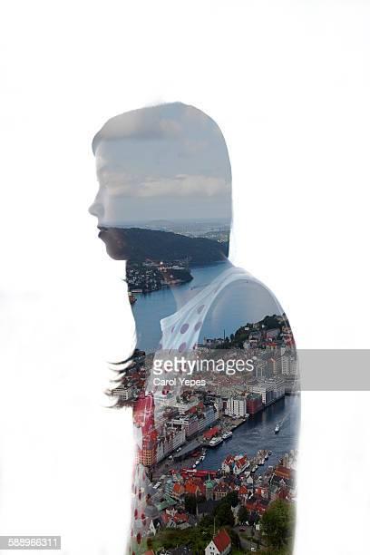 city woman, double exposure