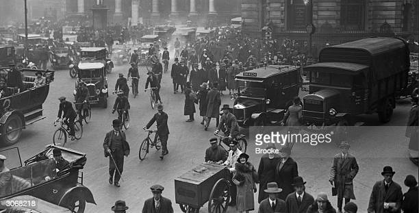 City workers at Bank in London make their way to work on foot and by bicycle during the General Strike 4th May 1926
