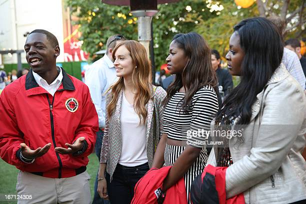A City Year Los Angeles AmeriCorps member actress Ahna O'Reilly singer Amber Holcomb and singer Candice Glover attend City Year Los Angeles' spring...