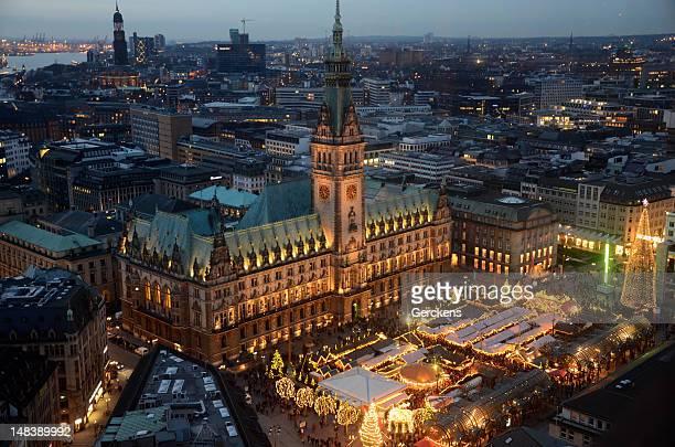 City-Hall and Christmas-Market in Hamburg