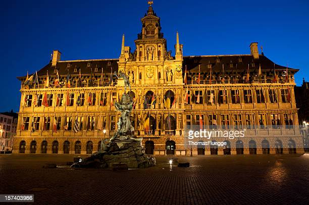 city-hall from antwerp - town hall stock pictures, royalty-free photos & images
