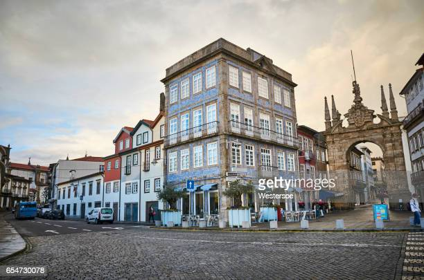 citylife in braga a rainy day - braga district stock photos and pictures