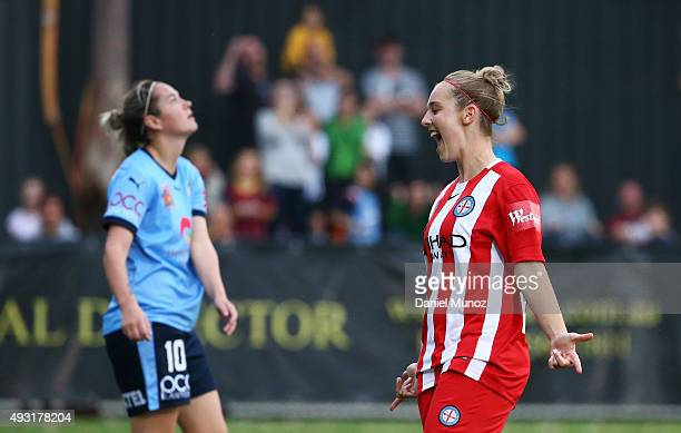 City's Marianna Tabain reacts after scoring during the round one WLeague match between Sydney FC and Melbourne City FC at Lambert Park on October 18...