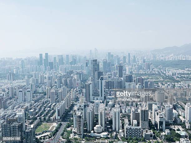 cityscape, aerial view, shenzhen, guangdong province, china - shenzhen stock pictures, royalty-free photos & images