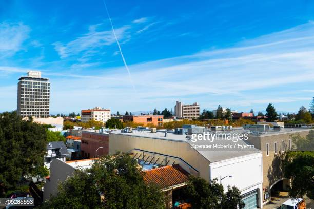 cityscape against blue sky - palo alto stock pictures, royalty-free photos & images