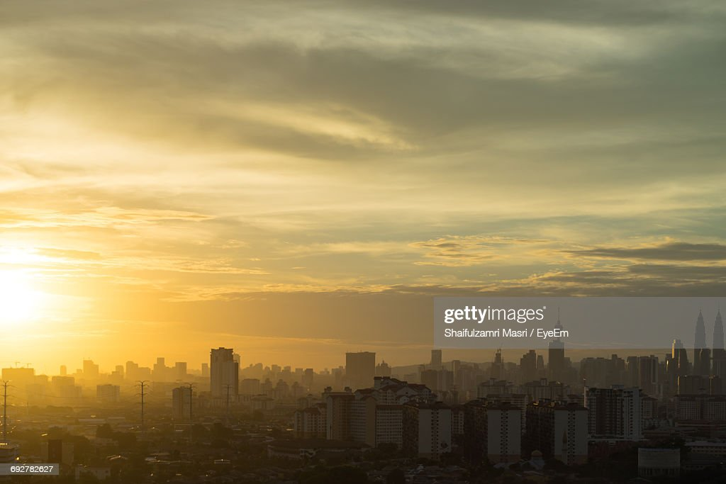 Cityscape Against Clear Sky During Sunset : Stock Photo