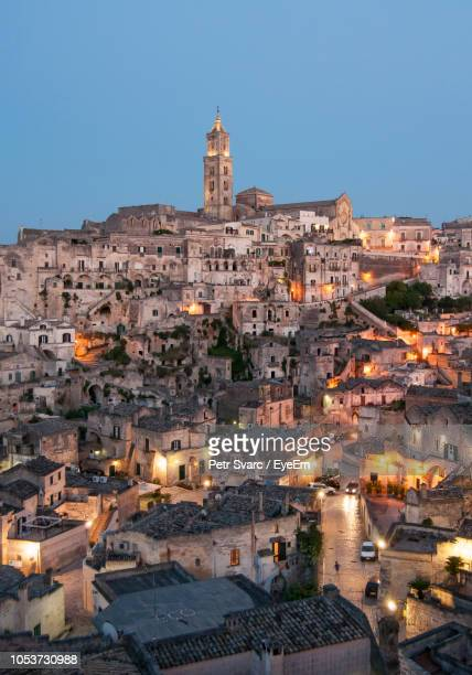cityscape against clear sky - matera stock photos and pictures