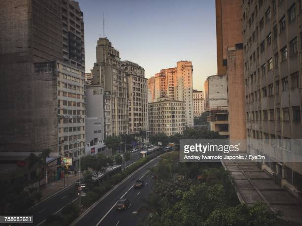 cityscape against clear sky - japonês stock pictures, royalty-free photos & images