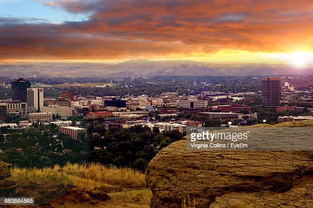 cityscape against cloudy sky during sunset - billings montana stock pictures, royalty-free photos & images
