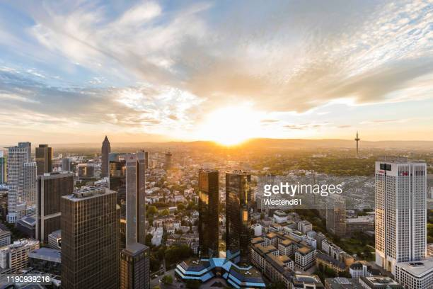 cityscape against cloudy sky, frankfurt, hesse, germany - frankfurt main tower stock pictures, royalty-free photos & images