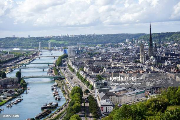 cityscape against cloudy sky - rouen stock pictures, royalty-free photos & images