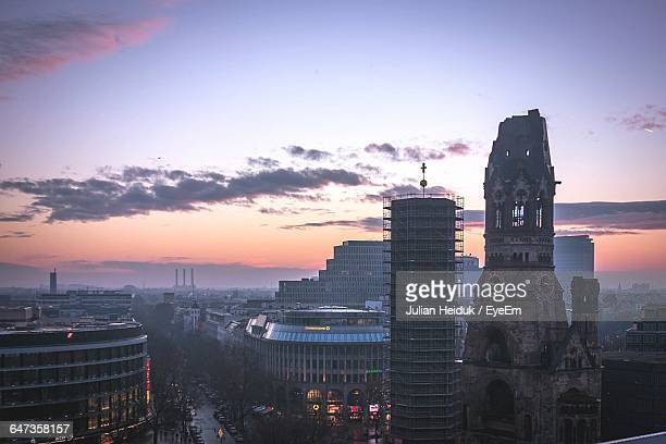 cityscape against sky during sunset - kurfürstendamm stock pictures, royalty-free photos & images